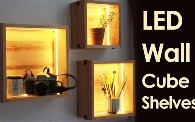 LEDストリップでいくつかのキューブ棚を空想