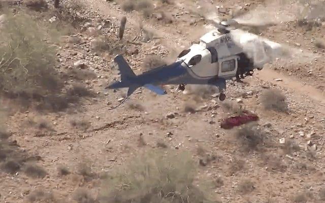 悪夢のようなヘリコプターによる地獄からの救助を受けた、負傷した貧しいハイカー