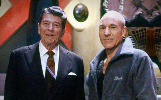 O Zaman Ronald Reagan, Star Trek: Yeni Nesil'i Ziyaret Etti ve Kaptan Koltuğunu Aldı
