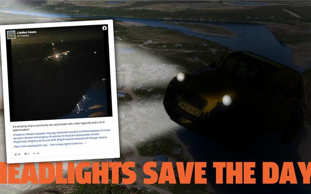 遠く離れたアラスカの町は、子供を救うために車のヘッドライトを使用しました