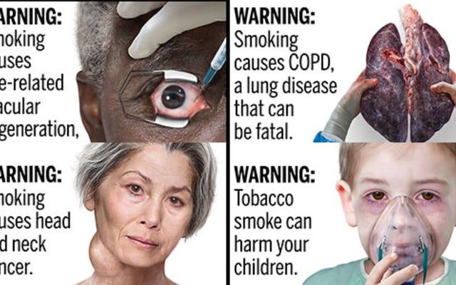 FDAはいくつかのグリスリーな新しいタバコの警告をプレビューしています