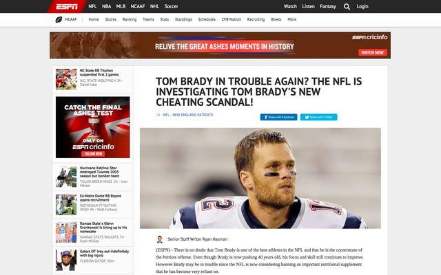Không, những câu chuyện giả mạo trên ESPN về Tom Brady và JJ Watt làm ma túy không có thật