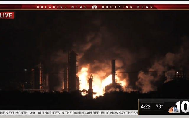 サウスフィラデルフィアの石油精製所での火災は大規模な爆発を引き起こします