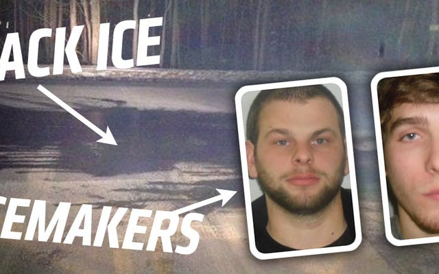 Guy couvre la route dans l'eau pour blâmer son épave sur la glace noire et non sur l'alcool