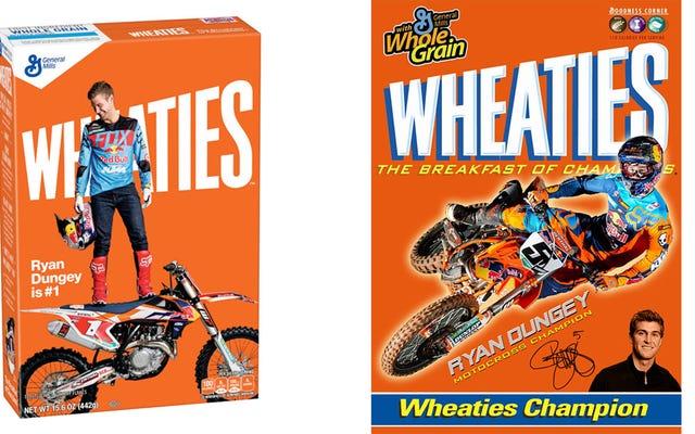 これはウィーティーズの箱にそれを作る最初のオートバイレーサーです