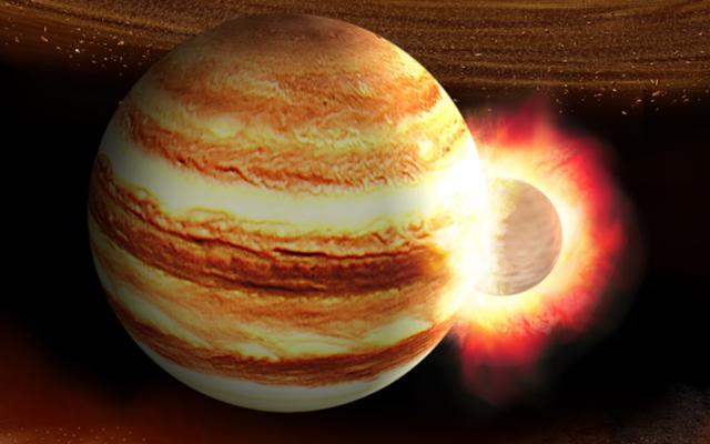 Ils croient qu'une planète 10 fois la masse de la Terre est entrée en collision avec Jupiter au cours de ses premières années de vie.