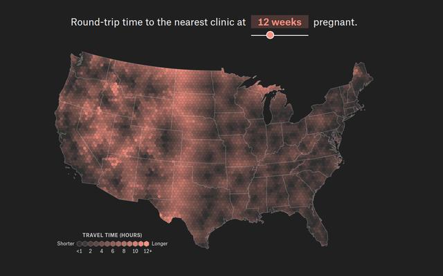 Questo strumento mostra quanto lontano dovresti guidare per raggiungere la tua clinica abortista più vicina