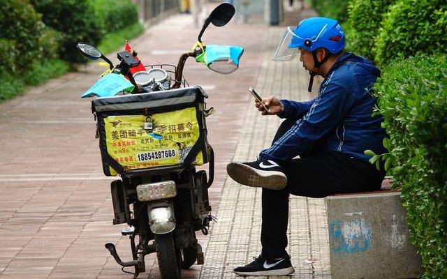 Empresas chinesas de entrega de comida experimentam serviço sem contato