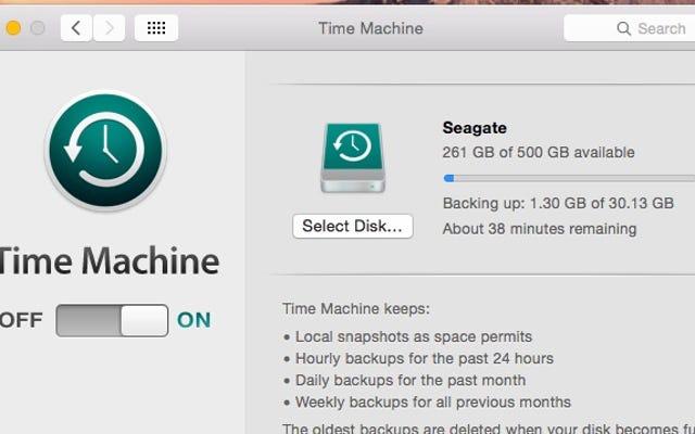 ใช้สแนปชอตภายในเครื่องของ Time Machine เพื่อกู้คืนไฟล์ที่สูญหาย