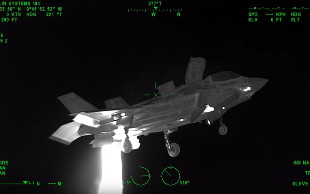 ホバリングF-35Bがヘリコプターのヒートビジョンにどのように見えるかを次に示します。