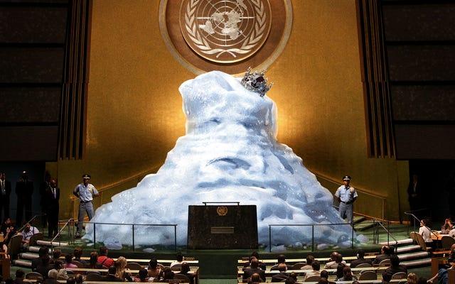 `` Nous devons agir maintenant pour sauver notre civilisation '', déclare Melting King Of Glacieria lors d'un discours à l'ONU