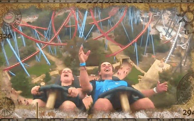 Absolute Legend łapie iPhone'a w powietrzu podczas jazdy na rollercoasterze