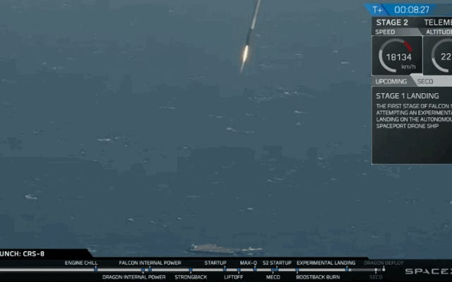 SpaceXは、5回の試みで初めてFalcon9ロケットを海に着陸させることができました。
