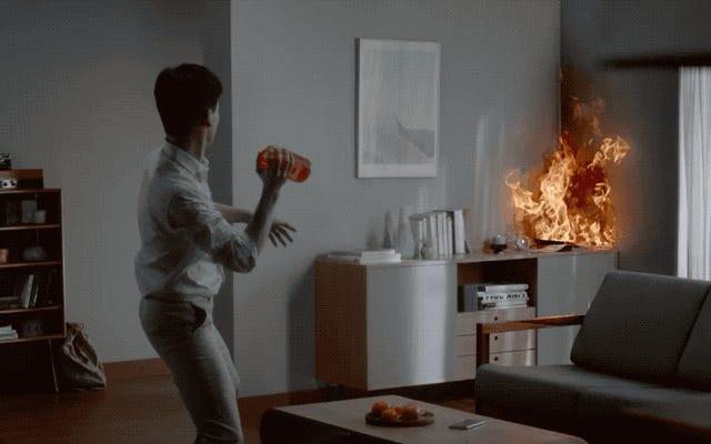 サムスンの最新の発明は、炎に投げ込むことができる消防用花瓶です