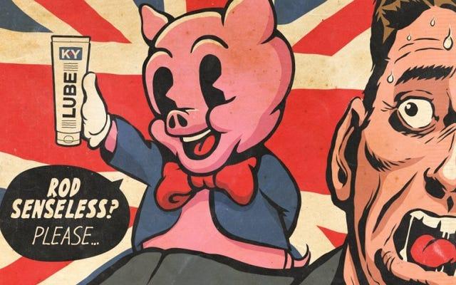 アーティストがブラックミラーの「あの豚のエピソード」を漫画本の表紙に変える