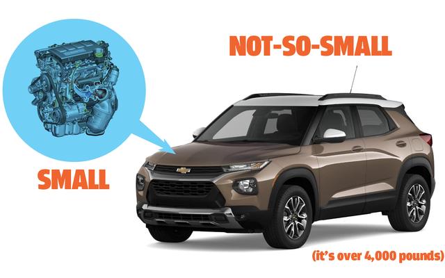 मुझे लगता है कि 2021 चेवी ट्रेलब्लेज़र में किसी भी कार का सबसे छोटा इंजन-टू-ओवर-कार आकार अनुपात है जिसे आप अमेरिका में खरीद सकते हैं