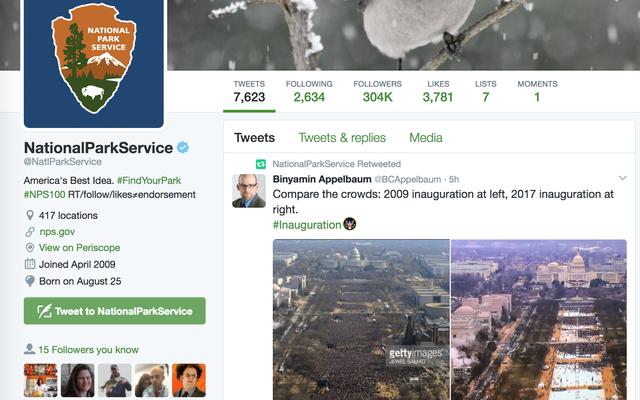 国立公園局がTwitterでトランプを最後に所有[更新]