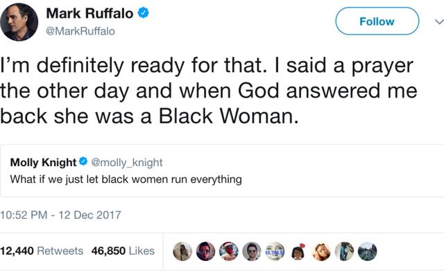 マーク・ラファロの「神は黒人女性」のツイートはマーベル映画だった