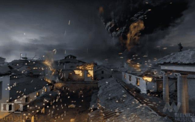 ローマの都市ポンペイを荒廃させたベスビウスの噴火は、圧倒的な3Dビデオで再現されました