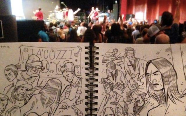 Brian Butler szkicuje wędrujący chaos koncertów i jest oszałamiający