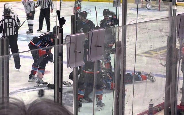 元NHLerのブライアンマクグラタンがAHLの戦いでノックアウトし、ストレッチャーに氷を残す
