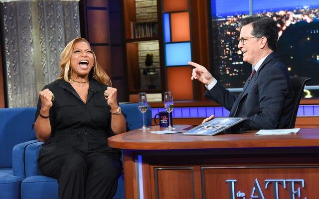 Kraliçe Latifah The Late Show'da Ursula'yı kaçırırken kraliyet muamelesi görüyor
