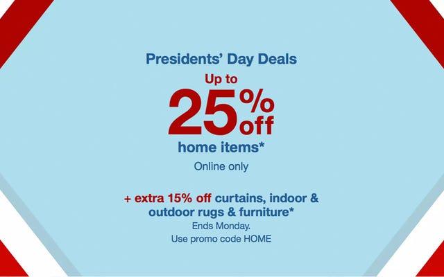 Économisez jusqu'à 25% sur la décoration intérieure chez Target pendant le week-end de la journée des présidents