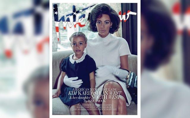 インタビューはキム・カーダシアンをジャッキー・ケネディ・ドラッグに入れ、彼女を「アメリカの新しいファーストレディ」と呼ぶ