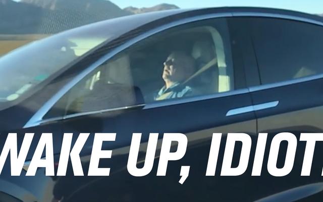 オートパイロットでテスラを運転している間、危険な馬鹿が眠る
