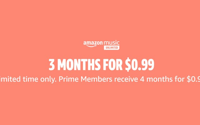 プライム会員のみ:Amazon MusicUnlimitedを$ 1で4か月間獲得