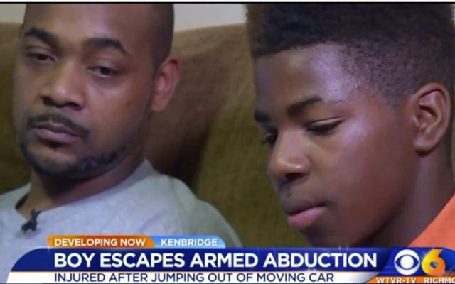 12-वर्षीय वाया। ब्वॉय जंप आउट ऑफ कार चलती 60 MPH सशस्त्र अपहरणकर्ता से बचने के लिए