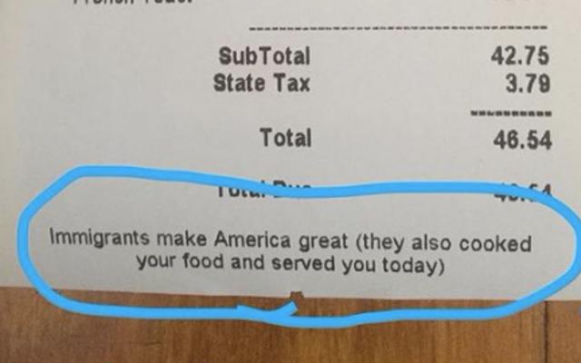 Top Chef Alum aggiunge una nota alle ricevute: Ehi! Gli immigrati hanno preparato il tuo cibo