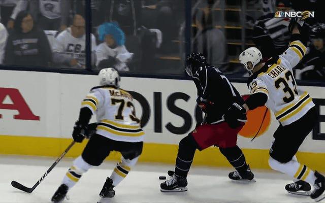Charlie McAvoy Bruinsa ukarany mniejszą karą po wyrównaniu Josha Andersona brutalną nielegalną kontrolą