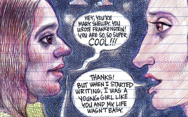 इतिहास की प्रेरक महिलाओं की इस हास्य पुस्तक समारोह में मैरी शेली के दुःख मूल का अन्वेषण करें