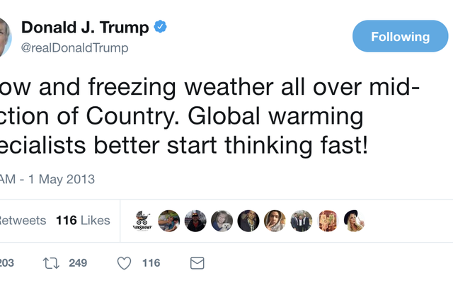 34他の回ドナルドトランプは天気がどのように機能するかについて彼の無知をツイートしました