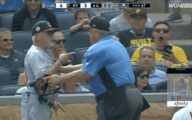 怒って、回転するジョー・マドンがカブスから放り出される-パイレーツゲーム