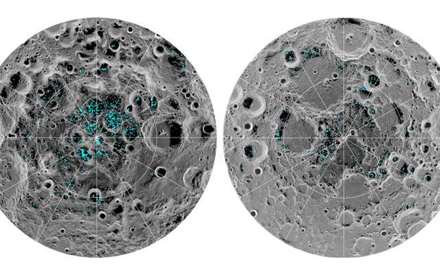 月の水:月極の表面に氷が存在することを確認します