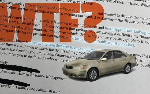 従業員の古い車についてのそのひどい電子メールは本物ではないかもしれませんが、それでも私は従うことができません