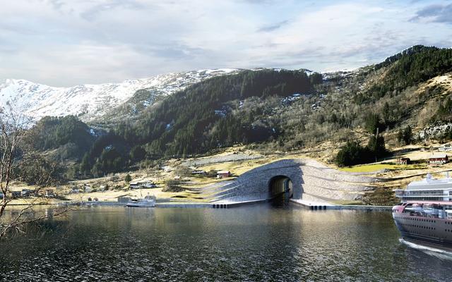 ノルウェーは世界初の船のトンネルのために巨大な丘の穴を爆破したい