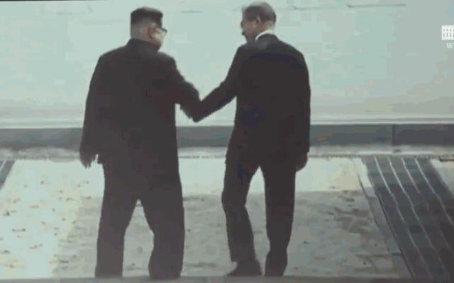 ドナルド・トランプは、ハリウッド映画のヒーローとして2人のリーダーと一緒に、キム・ジョンウンのためにこの偽の映画の予告編を作成しました