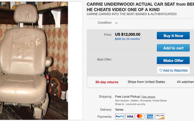 キャリーアンダーウッドの「ビフォーヒーチーツ」のビデオからeBayで12,000ドルでチャイルドシートを購入するのは誰ですか?