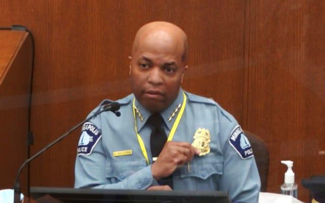「私は私たちの方針に違反することに絶対に同意します」:ミネアポリス警察署長は、裁判の6日目の間にデレクショーヴィンの行動を非難します