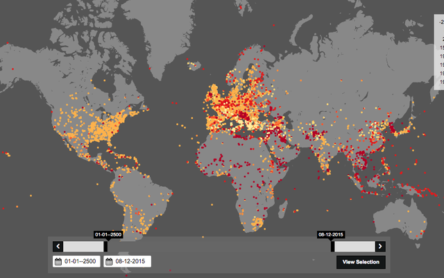 歴史を通してのこの衝撃的な戦いの地図は、完全に近いものではありません