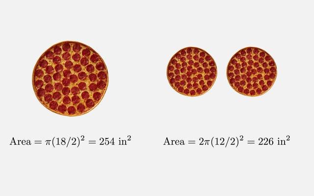 """Matematika tidak menipu: pizza keluarga memiliki lebih banyak """"pizza"""" daripada dua pizza kecil"""