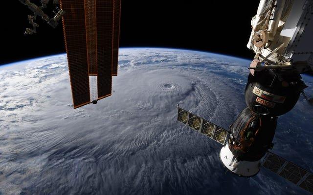 これは、ハリケーンレーンが宇宙からどのように見えるか、1時間あたり250キロメートルの絶え間ない嵐です。