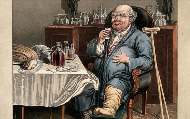食べるのをやめなかった痛風、鼓腸、肉膨満の貴族