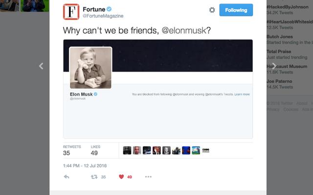 Elon Musk właśnie zablokował Fortune na Twitterze