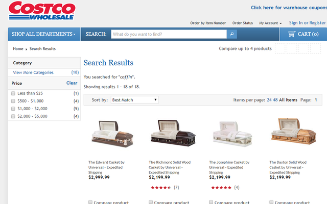 Économisez de l'argent sur les cercueils chez Costco