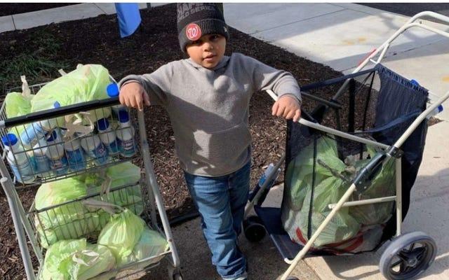 ¿Qué hacías cuando tenías siete años? Este niño estaba gastando $ 600 en alimentos y paquetes de atención para las personas afectadas por la pandemia de coronavirus