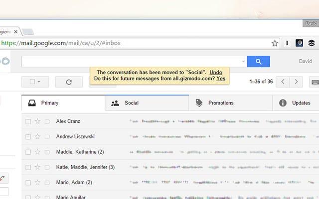 ドラッグアンドドロップフィルターを使用してGmailの受信トレイをクリーンアップする
